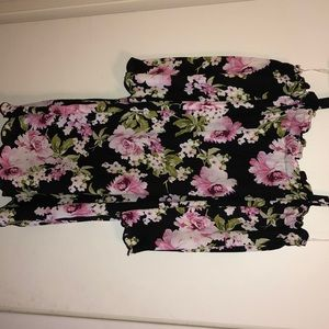 Floral black and pink dress with scalloped edges